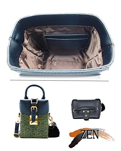 Pouch Crossbody With Cellphone Mini Retro Handbag Shoulder Bag Fur ZEN Women Green wBzx7