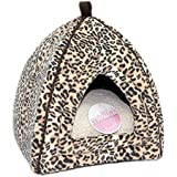 Petface Luxury Faux Suede Leopard Igloo Cat Bed