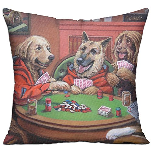 Poker Dog Play (Funny Play Poker A Dog Fashion Decorative Throw Pillow Deluxe Pillows 18