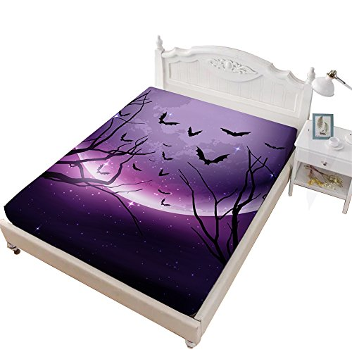 VITALE King Size Sheet, Halloween Printed Bedding Fitted Sheet King Size,Cartoon Purple Moon Bat Printed 1 Piece Deep Pocket King Fitted Sheet Kids Bedding Decoration