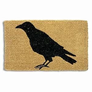 TAG Etiqueta–Negro Cuervo alfombrilla de fibra de coco, decorativo para todo el año. (para la parte delantera porche, patio o entrada, Natural