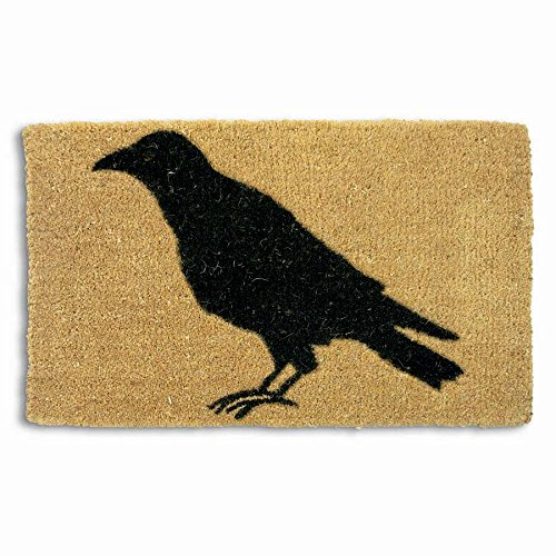 tag - Black Crow Coir Mat, Decorative All-Season Mat for the Front Porch, Patio or Entryway, Natural -