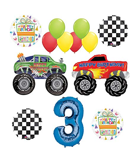 Monster Truck Party Supplies 3rd Birthday Balloon Bouquet Decorations -