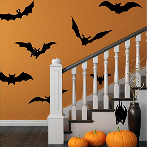 Halloween XL Bats Set of 8 wall decal stickers Halloween spooky scary self adhesive removable]()