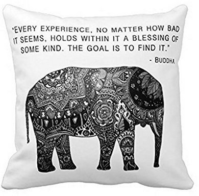 Decorative Square Pillow Case 18 x 18 inches Cushion Buddha Henna Elephant Wisdom Pillow Cover DeerLiKang