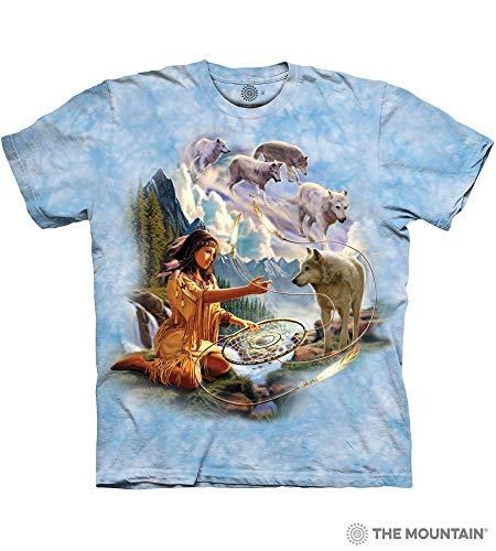 The Mountain Dreams Of Wolf Spirit Adult T-Shirt, Blue, Small]()