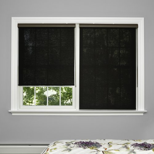 Best Home Fashion Closeout Premium Single Wood Look Roller Window Shade – Charcoal – 24 1/16″ W x 64″ L