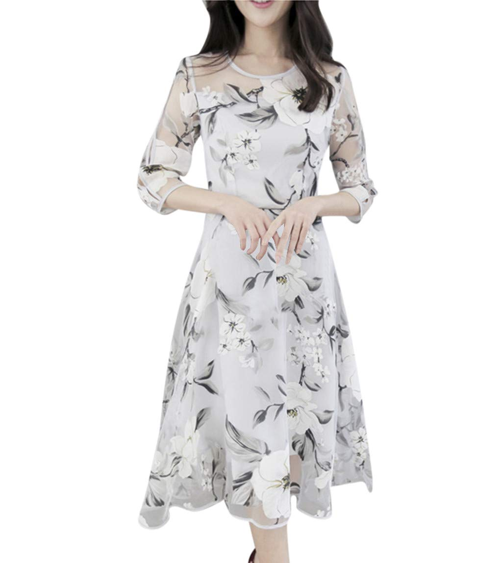 Women's Cocktail Dresses Summer Organza Floral Print Wedding Party Elegant Evening Dress (L, White)