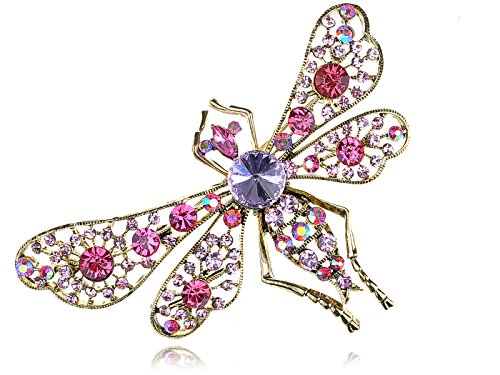 Alilang Womens Gilded Golden Tone Filigree Light Pink Purple Rhinestones dragonfly Insect Brooch Pin