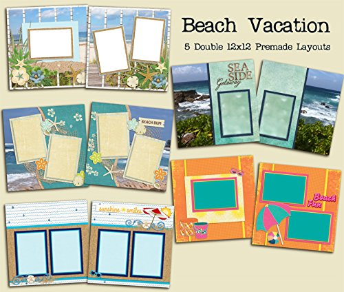 (Beach Scrapbook Set - 5 Double Page Layouts )