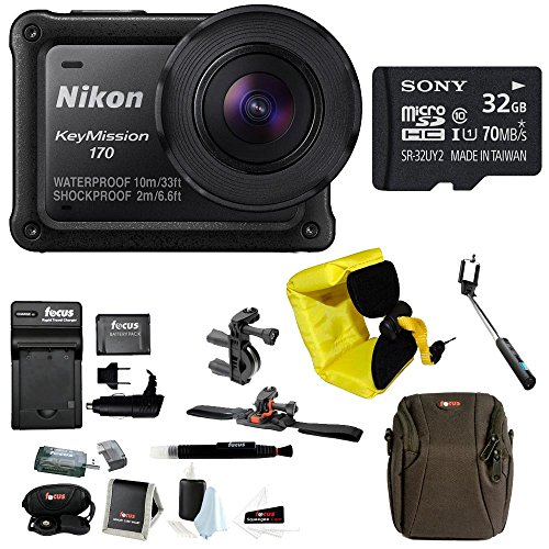 Nikon Keymisson 170 Wi-Fi 4K Action Camera with 32GB card and Bike Accessory Kit by Focus Camera
