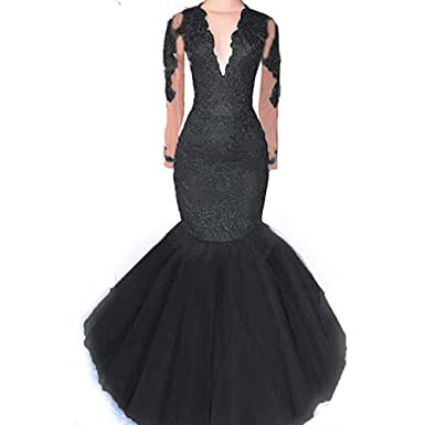 Womens V Neck Long Sleeve Lace Prom Dresses Mermaid 2019 Tulle Beaded Formal  Evening Party Ball 7b1f086e7