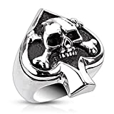 ace of spades ring - Ace of Spades Mens Ring with Skull and Crossbones - Heavy Stainless Steel - Size 7