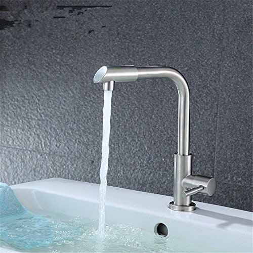 YSRBath Modern Bathroom Sink Mixer Faucet Single Cold Stainless Steel Single Handle Wire Drawing Single Cold Kitchen Taps Bathroom Basin Mixer Tap Basin Faucet