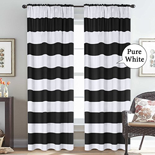 Pattern Thermal Insulated Curtains (2 Panels) Rod Pocket Top Window Curtain Panel Pair for Living Room, Black & Pure White, 52