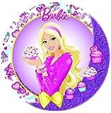 Disque azyme diamètre 21cm Barbie pour décoration de gâteau à l'unité - Les gourmandises de Heidi (Barbie cupcake)