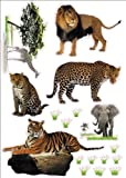 "Wild Animals Artwork Room Decor Wall Sticker Decal **15""W X 23""H** (1 piece) (W-0031)"