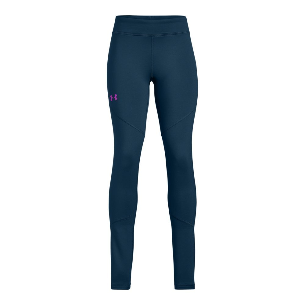 Under Armour Girls' Coldgear Leggings, Techno Teal (489)/Fluo Fuchsia, Youth X-Small