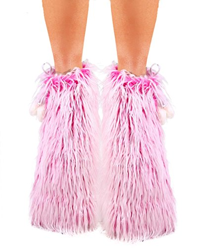 iHeartRaves Fluffy Leg Warmers - Rave GoGo Fluffies, Hot Pink Frosted, One-Size (Pink Fluffies Leg Warmers)
