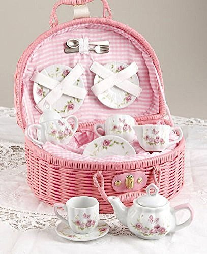 Delton Products Rose Tea Set for 2, Pink -
