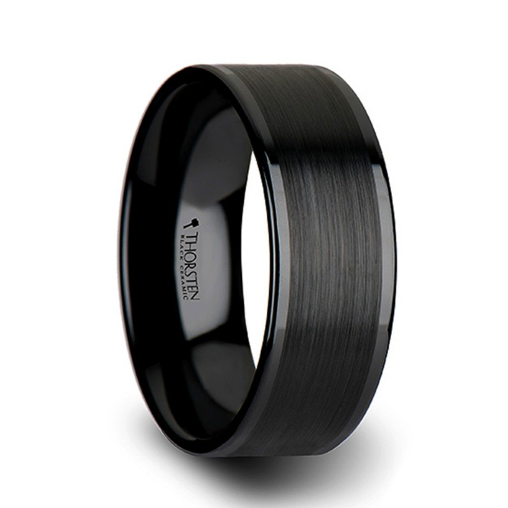 Thorsten Octavius Flat Black Ceramic Ring Wedding Band with Brushed Texture Center Polished Edges 10mm Width from Roy Rose Jewelry