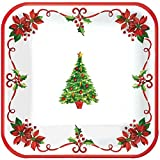 Amscan Traditional Christmas Dessert Plates, Holiday Party Supplies, Square Paper Plates, 7'' dia, 40 Count