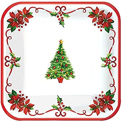 Amscan Traditional Christmas Square Paper Dessert Plates Disposable Party Tableware (Pack of 40), Multicolor, 7""