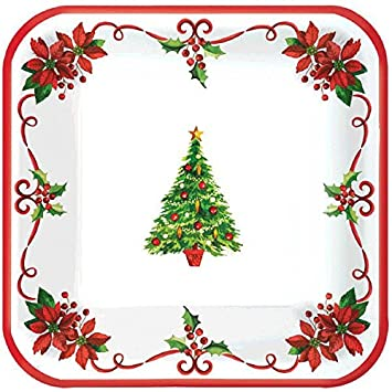 Amscan Traditional Christmas Square Paper Dessert Plates Disposable Party Tableware (Pack of 40)  sc 1 st  Amazon.com & Amazon.com: Amscan Traditional Christmas Square Paper Dessert Plates ...