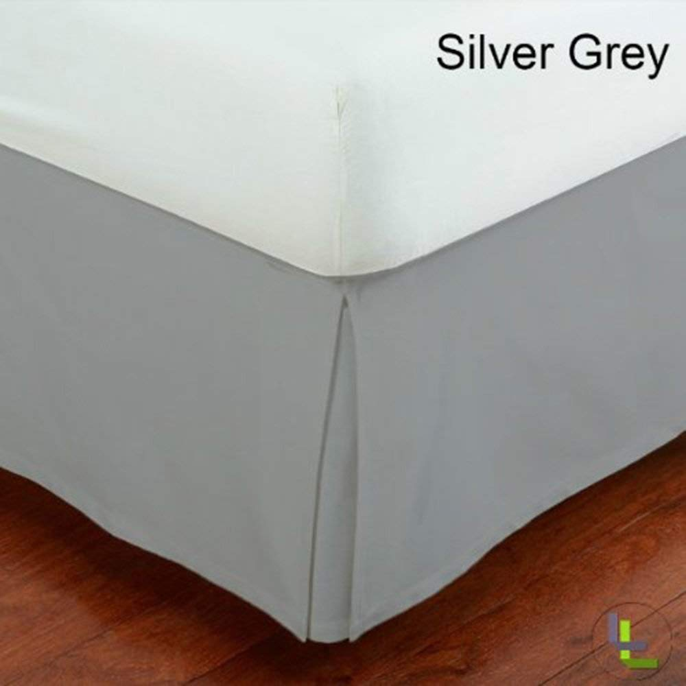 KP Linen Queen Size Split Corner Bed Skirt 18'' Inch Drop - 100% Egyptian Cotton Luxurious & Hypoallergenic Easy to Wash Wrinkle, (Silver Grey, Queen Size Bed Skirt 18 inch drop)