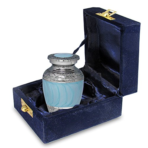 One Light Urn - Hugs and Kisses Light Blue Mini Keepsake Urn For Human Ashes - Qnty 1 - Find Comfort Everytime You Look At This High Quality Sharing Urn - With Velvet Case
