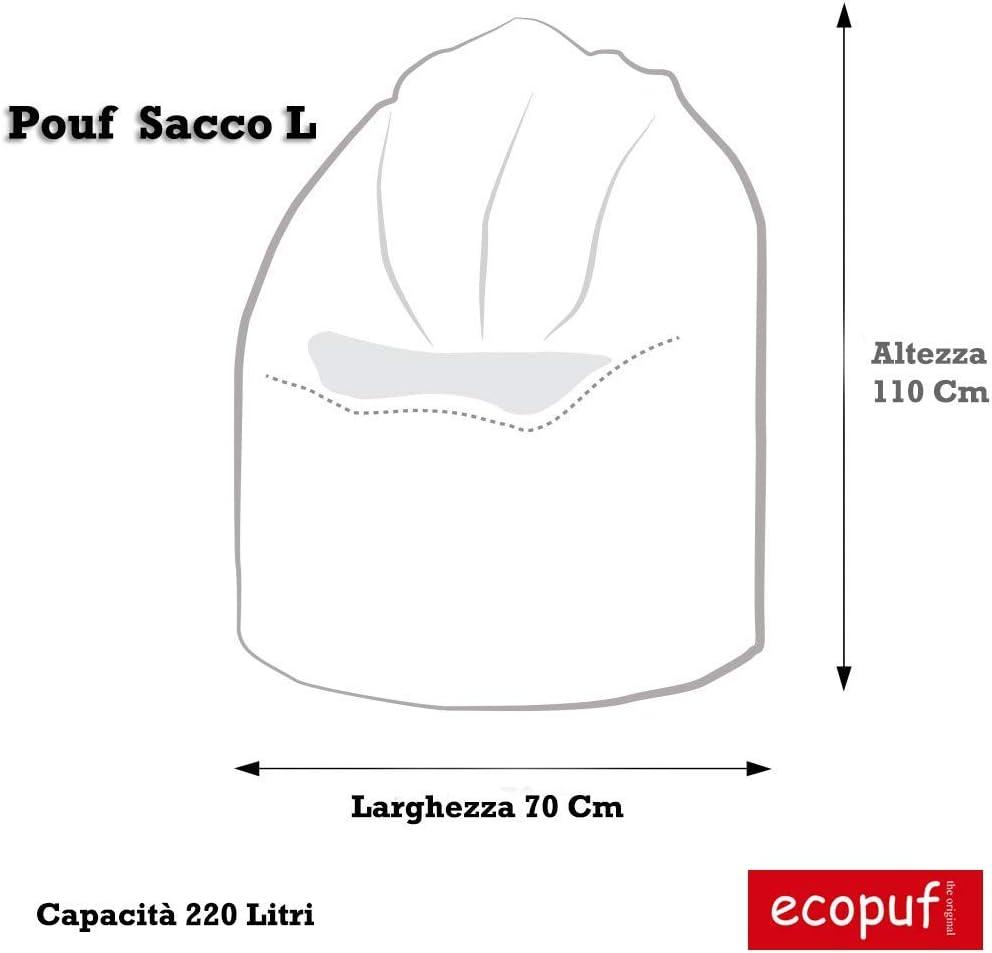 220L Ecopuf Poltrona Sacco in Poliestere da Interno e Esterno Pouf Imbottito Design Antimacchia