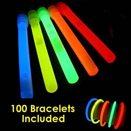 "Glow Sticks Bulk Wholesale, 100 4"" Glow Stick Light Sticks+100 FREE Glow Bracelets! Assorted Bright Colors, Kids love them! Glow 8-12 Hrs, 2-year Shelf Life, Sturdy Packaging, GlowWithUs Brand -"