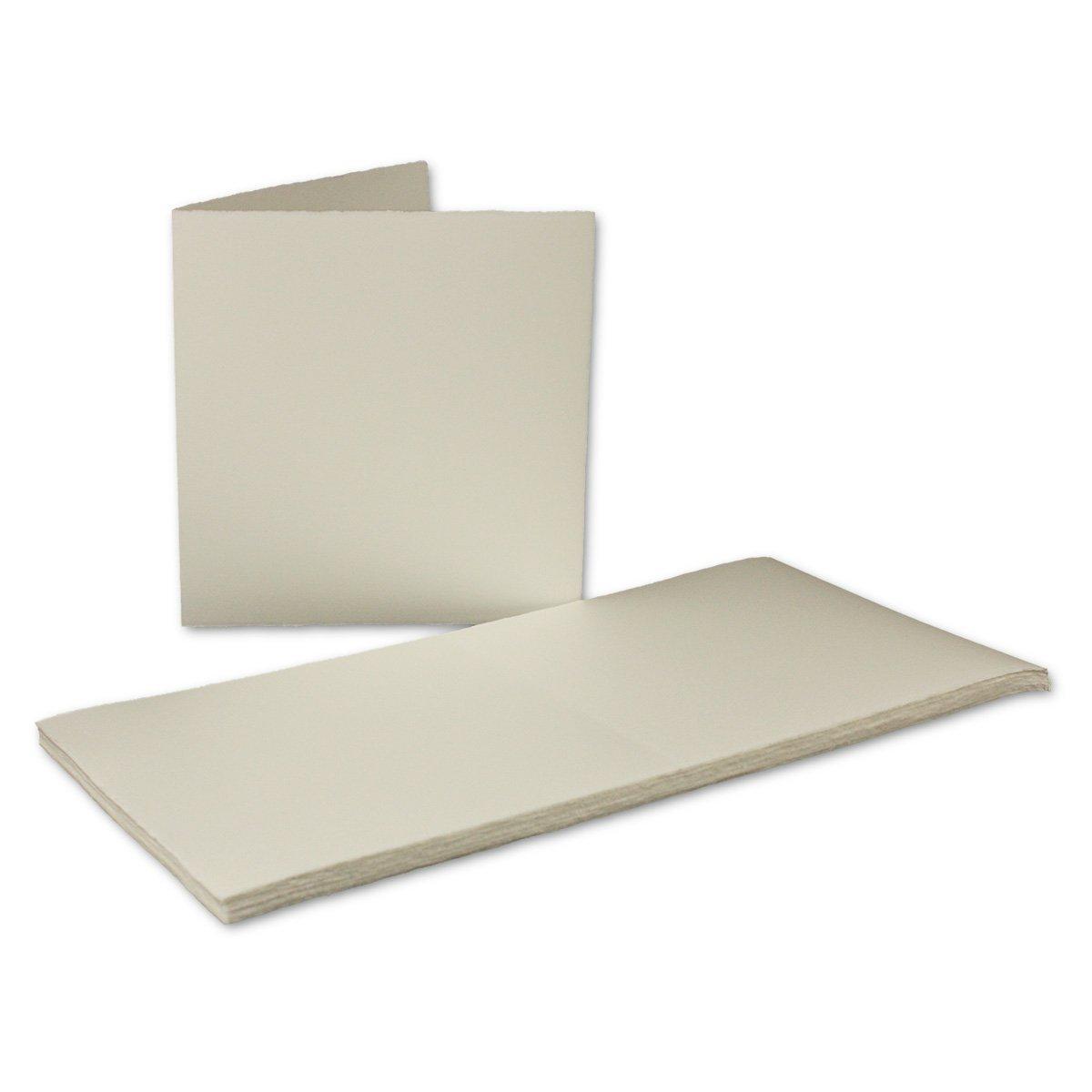Echtes Büttenpapier | 25er Set | quadratische Doppel-Karten 160 x 160 mm | Naturweiß halbmatt | ORIGINAL ZERKALL-BÜTTEN - Serie IDA | Handgemacht - Made in Germany Neuser