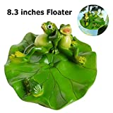 SIGMALL Floating Rowing Frog - Funny Outdoor Simulation Resin Cute Frog Sitting on Lotus Leaf Floater for Pool Pond Decor Garden Art in Water (Frog Fimily)