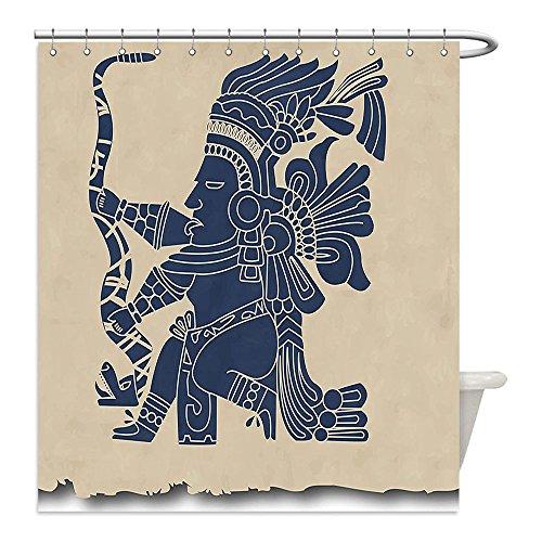 Man Down Vine Dog Costume (Liguo88 Custom Waterproof Bathroom Shower Curtain Polyester Tribal Mayan and Inca Primitive Art Motif with Native American Man in Old Paper Print Beige Blue Grey Decorative bathroom)