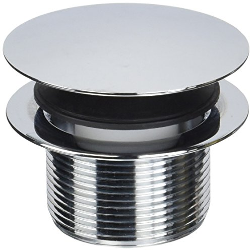 Westbrass D398R-26 Euro Style Full Cover ADA Approved 1-1/2-Inch NPSM Coarse Thread Tip-Toe Bath Drain, Polished Chrome