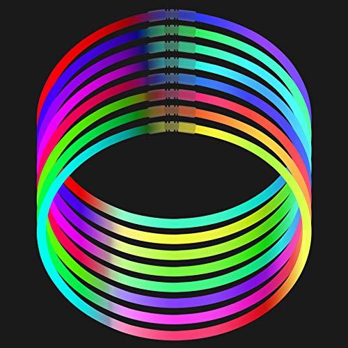 (Fun Central I39 50pcs, 22 Inches Premium Glow Necklaces, Glow in The Dark Necklaces, Glow Necklaces Bulk - Assorted Tricolor)