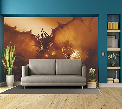 Large Wall Mural Sticker [ Fantasy Art House Decor,Calling of the Dragon Magician for Evil Powers of the Universe,Orange Brown ] Self-adhesive Vinyl Wallpaper / Removable Modern Decorating Wall Art -