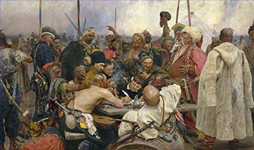 $50-$4000 Hand Painted Art Paintings by College Teachers - Ilya Repin The Reply of The zaporozhian cossacks to Sultan Mahmoud iv Oil Painting Reproduction Old Famous -Large Size16