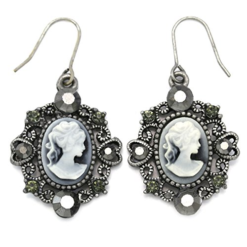 Gray Earrings Cameo Dangle Drop Style Fashion Jewelry