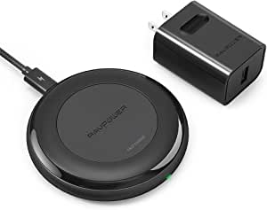 Fast Wireless Charger RAVPower 7.5W Compatible iPhone 12/Mini/Pro/11/Max/XS/XR/X/8 Plus with HyperAir, 10W Compatible Galaxy S20 Note 20 and All Qi-Enabled Devices (QC 3.0 Adapter Included)