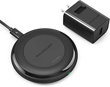 Fast Wireless Charger RAVPower 7.5W Compatible iPhone 11 Pro Max XS Max XR X 8 Plus, with HyperAir, 10W Compatible Galaxy S9 S9+ S8 S7 Note 8 and All Qi-Enabled Devices (QC 3.0 Adapter Included)