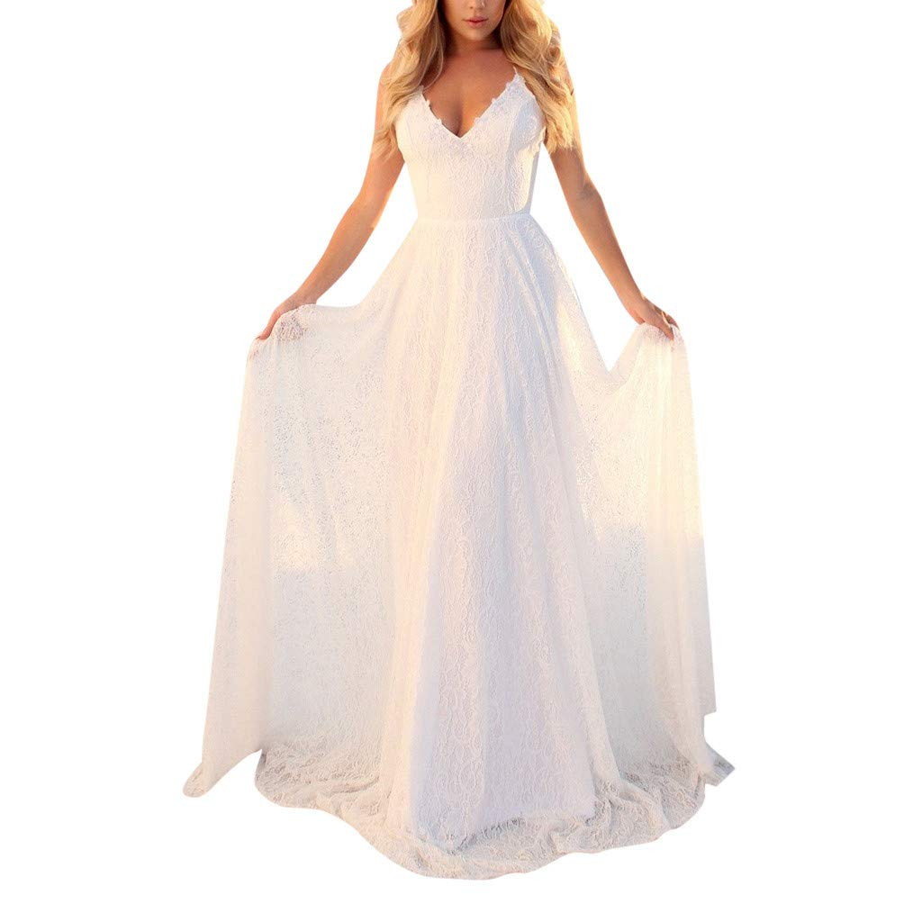 FAPIZI Women Sleeveless Solid Strappy V-Neck Lace Cocktail Wedding Casual Bridesmaid Gown Long Dress