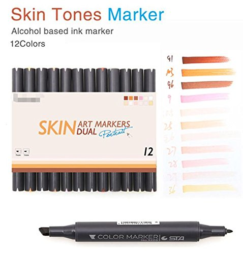 12 Colors Manga Colors Skin Tones Markers Art Marker Double-Ended Brush Set For Sketch Graphic Design Figures Cartoon - Colours Skin Cool Tone