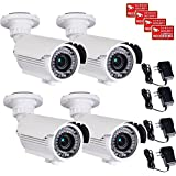 VideoSecu 4 Pack Built-in SONY Effio CCD IR Bullet Security Cameras 700 TVL Outdoor Day Night 4-9mm Zoom Focus Lens 42 Infrared Leds for Home CCTV DVR Surveillance System with Power Supplies WG5