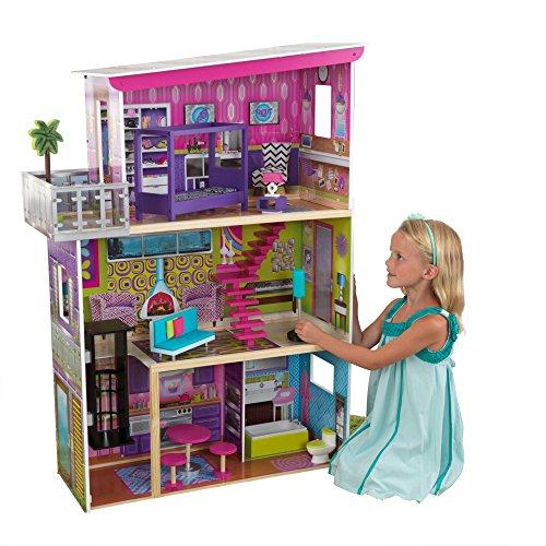 KidsKraft 11 Piece Super Modern Sturdy Wood Dollhouse Furniture Kids Playset (Garfield Halloween Game 2)