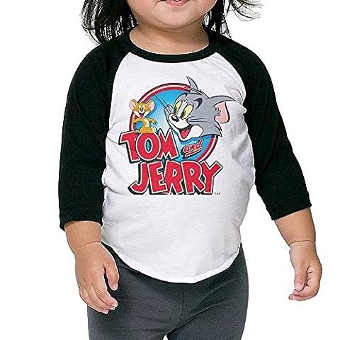 Toddler Geek Tom And Jerry 100% Cotton 3/4 Sleeve Athletic Baseball Raglan Tee Shirts Black US Size 5-6 (Tom And Jerry Tee Shirts)