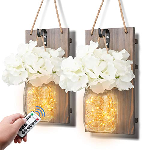 TaoTens Mason Jar Sconces LED Fairy Lights,Vintage Wrought Iron Hooks, Silk Hydrangea Flower LED Strip Lights Design Home Kitchen Decoration with Remote Control (Set of 2)