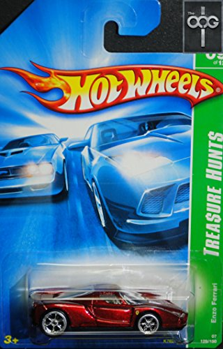 2007 Hot Wheels Super Treasure Hunt Enzo Ferrari RARE and EXTREMELY HTF! 129/180 With Real Riders Tires - Ferrari Enzo Wheels