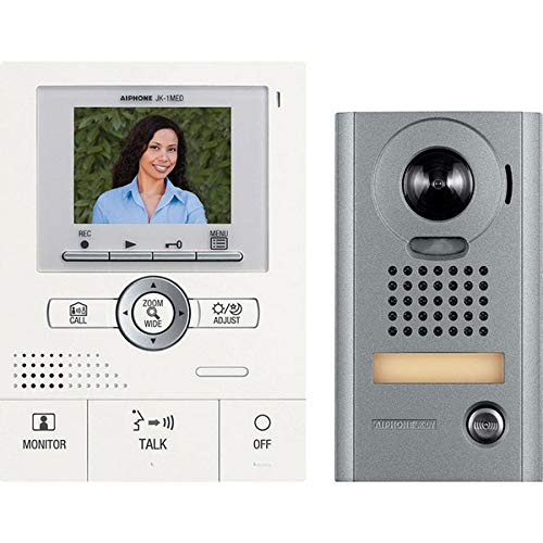 Aiphone JKS-1AEDV Audio/Video Intercom Set with Picture Recording for Single Door, Surface-Mount Vandal-Resistant Door Station (Aiphone Intercom)